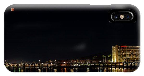 Super Blue Blood Moon Over Ventura, California Pier  IPhone Case