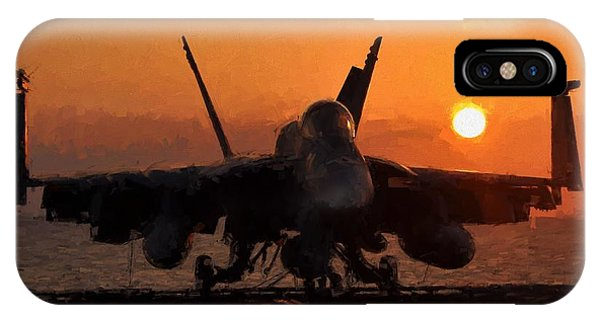 Uss Hornet iPhone Case - Super Hornet At Sunset by Theo Westlake