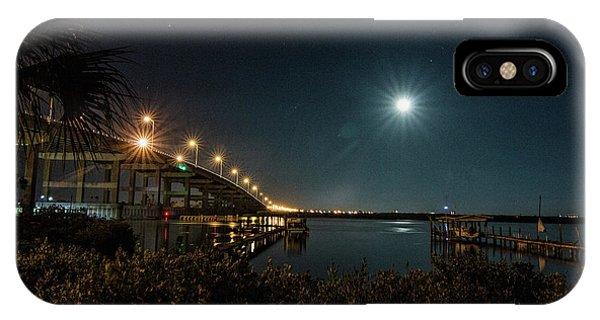Super Moon And Bridge Lights IPhone Case