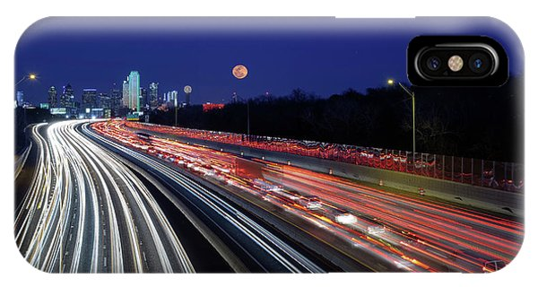 Super Moon And Dallas Texas Skyline IPhone Case