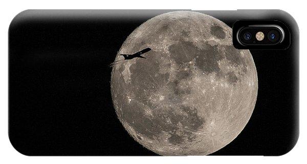 Super Moon And Plane Phone Case by Jennifer Ludlum