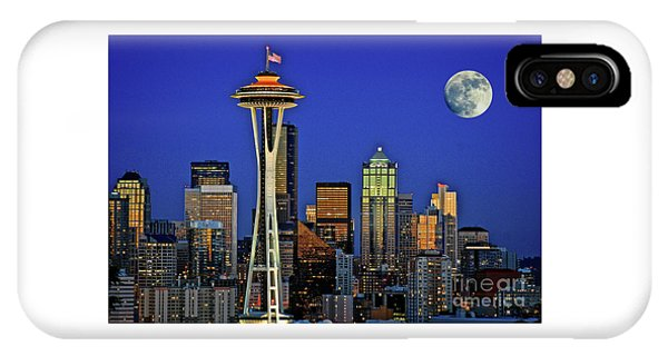 Super Moon Over Seattle IPhone Case