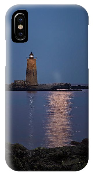Super Moon Over Whaleback Lighthouse IPhone Case