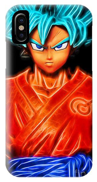 IPhone Case featuring the digital art Super Saiyan God Goku by Ray Shiu