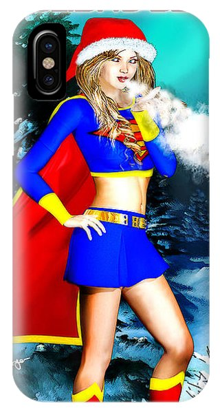 Supergirl Holiday Greeting Card IPhone Case