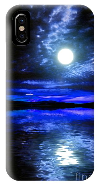 Supermoon Over Lake 2 IPhone Case