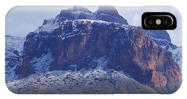 Superstition Mountain Snowfall IPhone Case