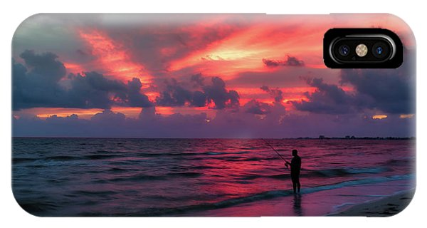 Fort iPhone Case - Surf Fishing At Sunset by Tom Mc Nemar