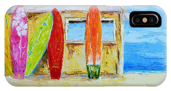 Surf Board Rental Shack At The Beach - Modern Impressionist Palette Knife Work IPhone Case