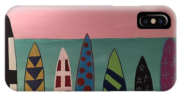 Surfboards At On Beach IPhone Case
