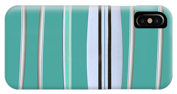 IPhone Case featuring the digital art Surfboards Blue Square by Edward Fielding