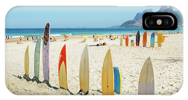 Surfboards On Ipanema Beach, Rio De Janeiro IPhone Case