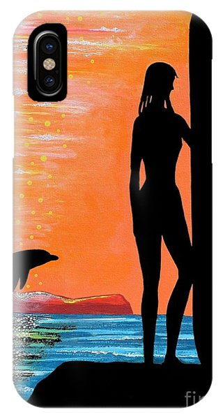 Surfer Girl With Dolphin IPhone Case
