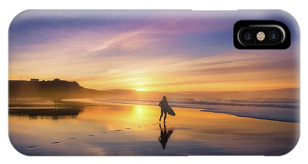 Surfer In Beach At Sunset IPhone Case