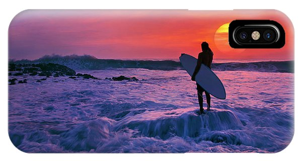 Surfer On Rock Looking Out From Blowing Rocks Preserve On Jupiter Island IPhone Case