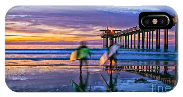 Surfers At Scripps Pier In La Jolla California IPhone Case