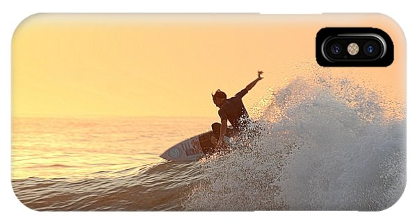 IPhone Case featuring the photograph Surfing In Golden Sky by Robert Banach