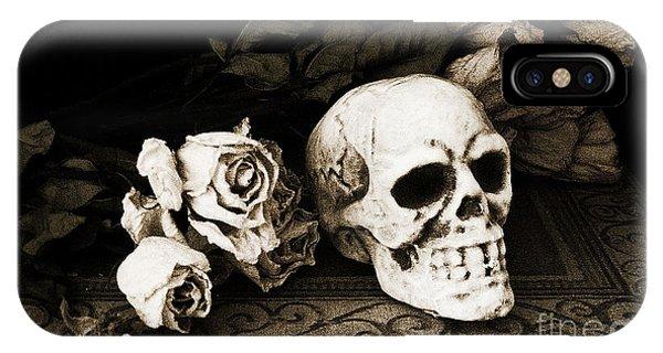 Surreal Gothic Dark Sepia Roses And Skull  IPhone Case