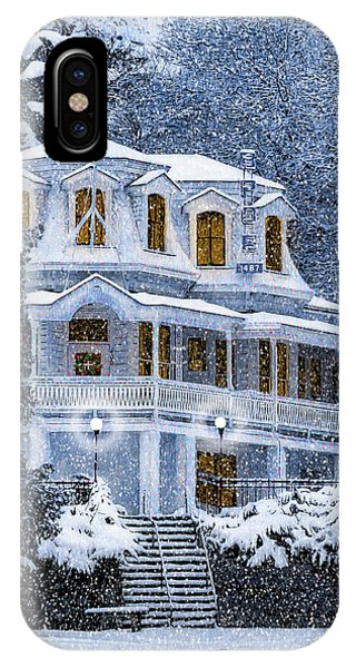 IPhone Case featuring the mixed media Susanville Elks Lodge At Christmas by The Couso Collection