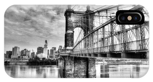 Suspension Bridge At Cincinnati Bw IPhone Case