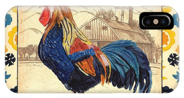 Fowl iPhone Case - Suzani Rooster 1 by Debbie DeWitt