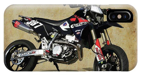 Arte iPhone Case - Suzuki Race Motorcycle. 387. by Drawspots Illustrations