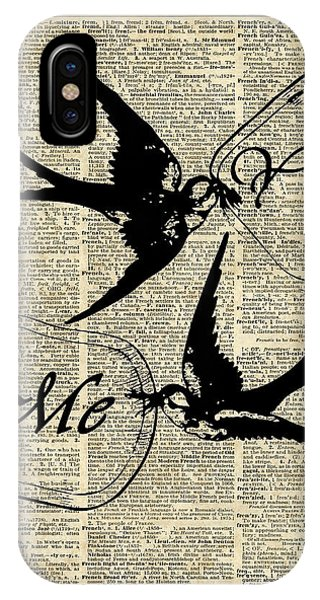 Love iPhone Case - Swallows In Love,flying Birds Vintage Dictionary Art by Anna W