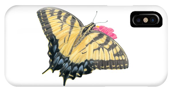Close Up Floral iPhone Case - Swallowtail Butterfly And Zinnia- Transparent Backgroud by Sarah Batalka