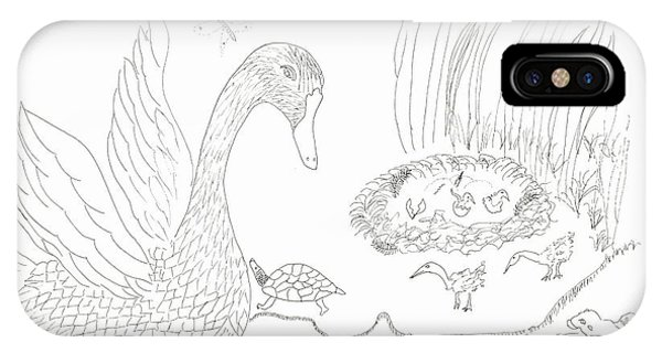 Swan And Hatchlings IPhone Case