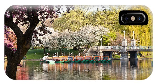 Swan Boats With Apple Blossoms IPhone Case