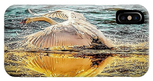 IPhone Case featuring the photograph Swan Flight  by Cliff Norton