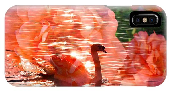 Swan In Lake With Orange Flowers IPhone Case