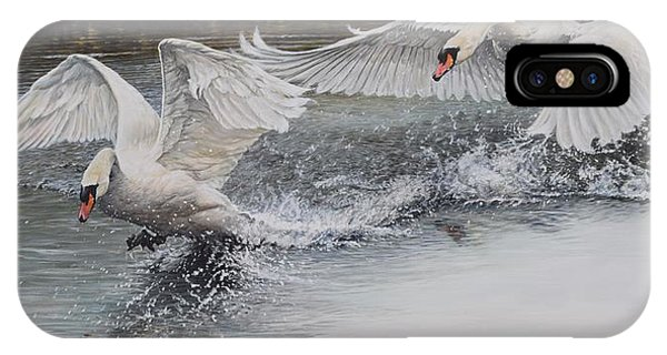 IPhone Case featuring the painting Swans In Dispute by Alan M Hunt