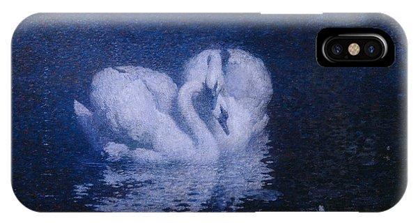 Dark Violet iPhone Case - Swans by William Robinson Leigh