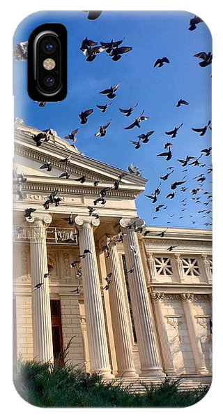 IPhone Case featuring the photograph Pigeon Swarm At The Ateneul Roman In Bucharest, Romania by Chris Feichtner