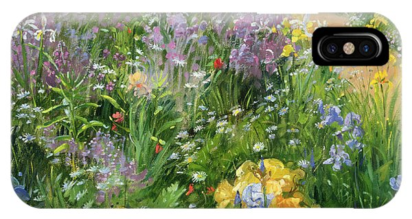 Garden iPhone X Case - Sweet Rocket - Foxgloves And Irises by Timothy Easton