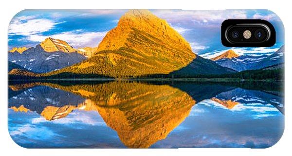 Swiftcurrent Lake Sunrise Panorama IPhone Case