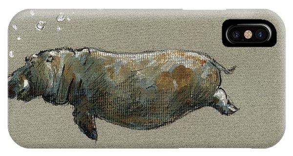 Swimming Hippo IPhone Case
