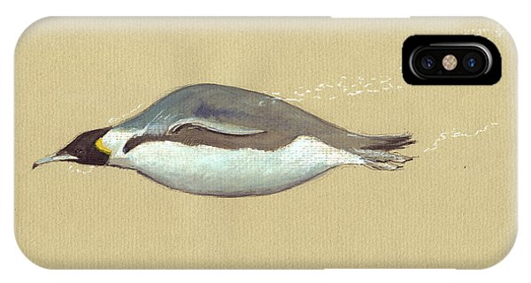 Penguin iPhone Case - Swimming Penguin Painting by Juan  Bosco