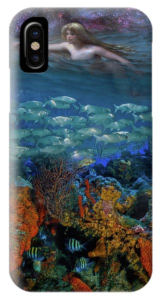 Reef Diving iPhone Case - Swimming Under The Stars by Debra and Dave Vanderlaan