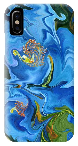 Swirled Blue Poppies IPhone Case