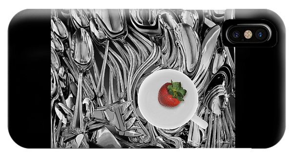 Swirled Flatware And Strawberry IPhone Case