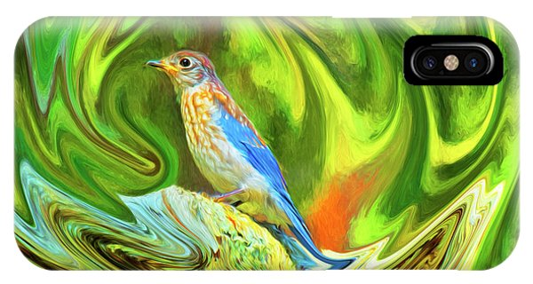 Swirling Bluebird Abstract IPhone Case