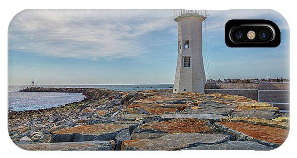 Swirling Clouds At Scituate Lighthouse IPhone Case