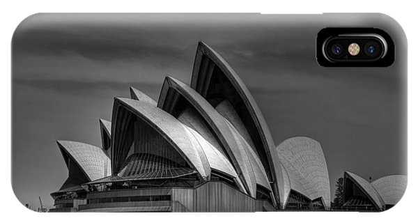 Sydney Opera House Print Image In Black And White Phone Case by Chris Smith
