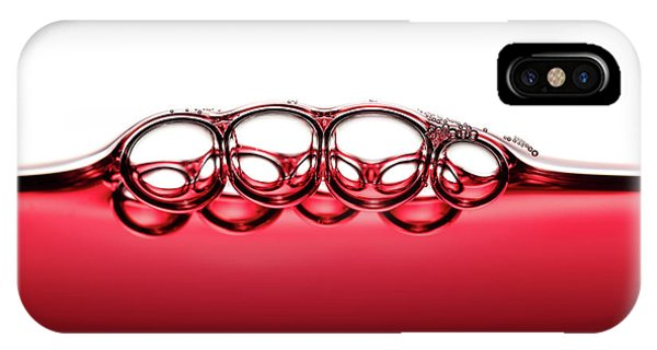 Cocktail iPhone Case - Symmetrical Red Wine Bubbles by Johan Swanepoel