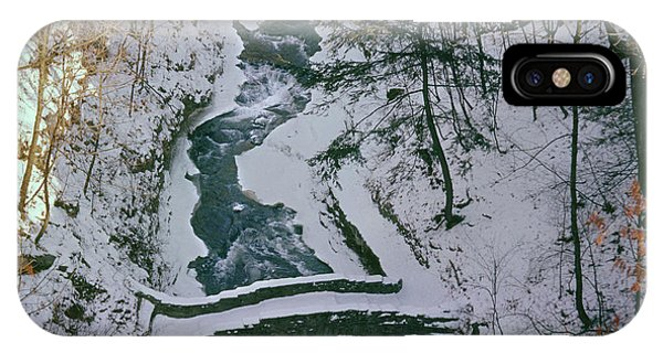 IPhone Case featuring the photograph T-31501 Gorge Snow Cornell U Campus by Ed Cooper Photography