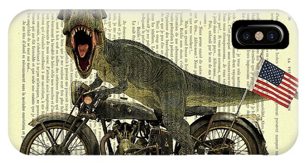 Harley iPhone Case - T Rex Riding His Harley, Dictionary Print by Madame Memento