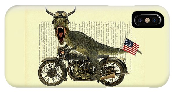 Stars And Stripes iPhone Case - T Rex Riding His Harley, Dictionary Print by Madame Memento