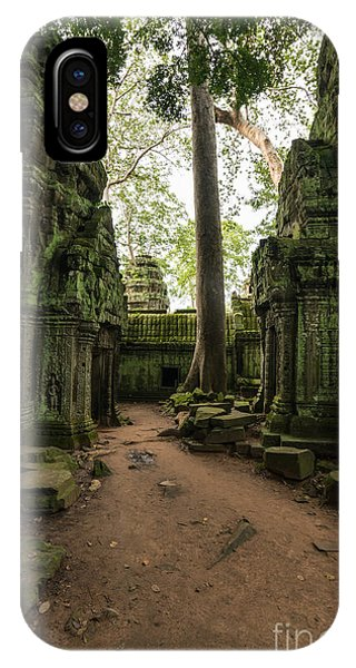 Cambodia iPhone Case - Ta Phrom Temple Ruins Path by Mike Reid
